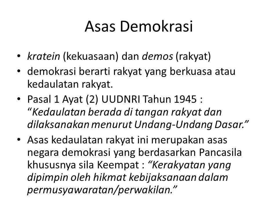 Asas Demokrasi kratein (kekuasaan) dan demos (rakyat) demokrasi berarti rakyat yang berkuasa atau kedaulatan rakyat. Pasal 1 Ayat (2) UUDNRI Tahun 194