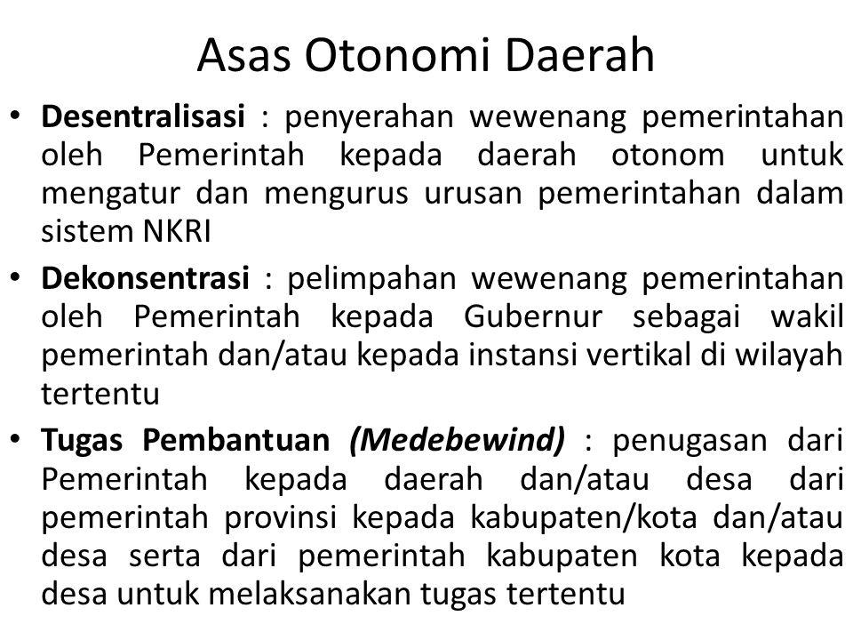 Asas Otonomi Daerah Desentralisasi : penyerahan wewenang pemerintahan oleh Pemerintah kepada daerah otonom untuk mengatur dan mengurus urusan pemerint