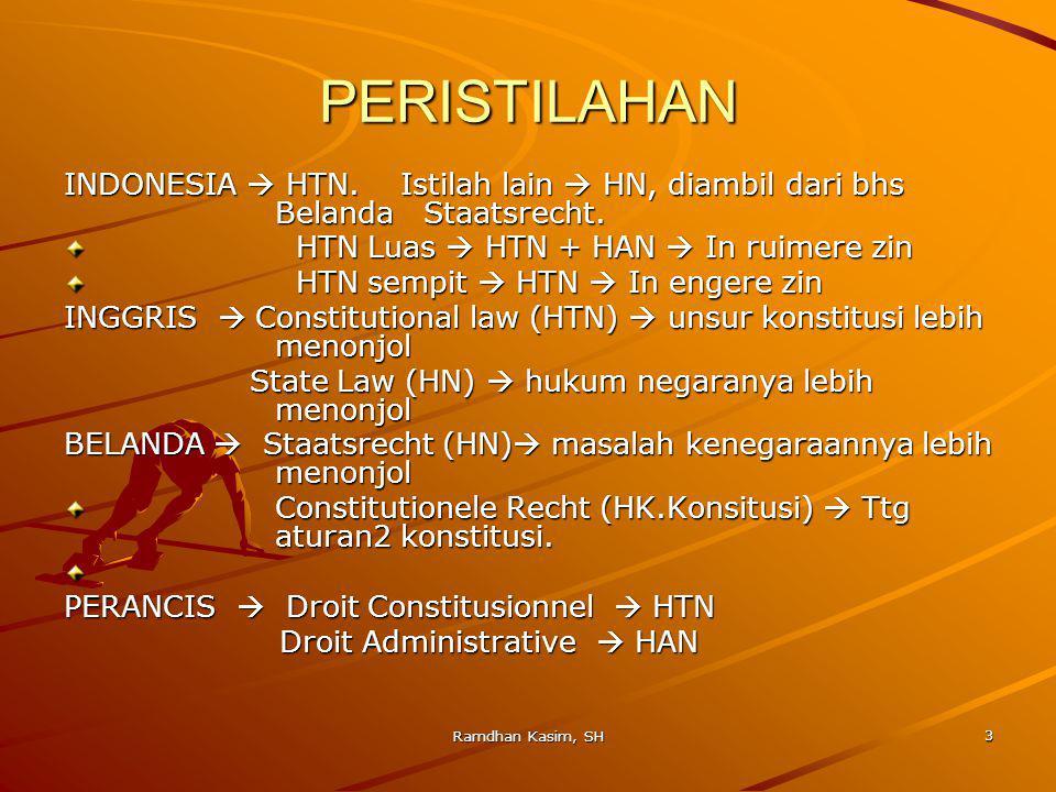 3 PERISTILAHAN INDONESIA  HTN.Istilah lain  HN, diambil dari bhs Belanda Staatsrecht.