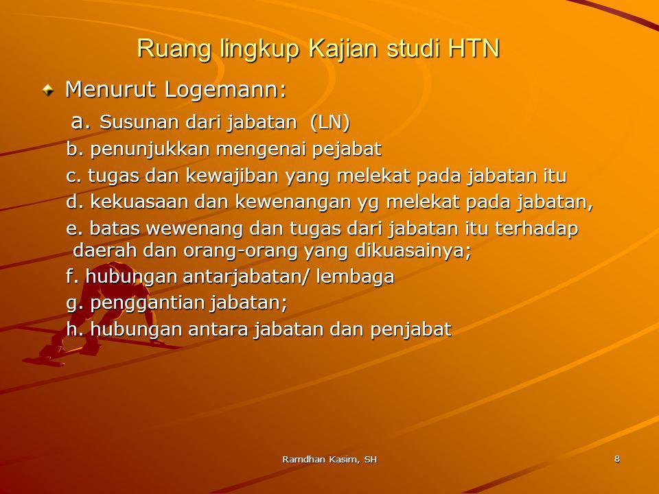Ruang lingkup Kajian studi HTN Menurut Logemann: a.