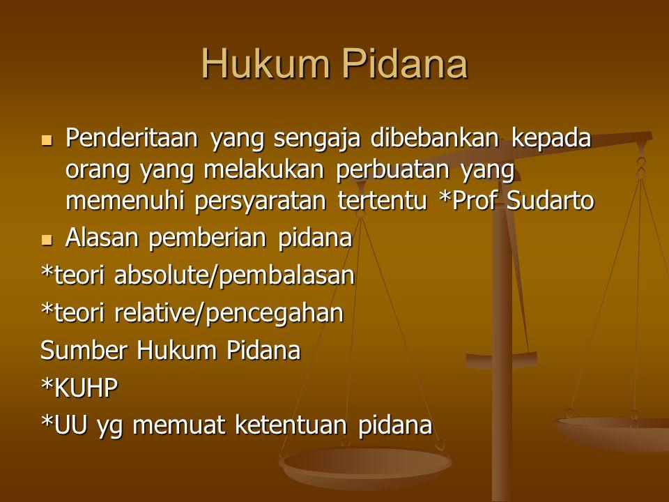 Hukum Pidana Penderitaan yang sengaja dibebankan kepada orang yang melakukan perbuatan yang memenuhi persyaratan tertentu *Prof Sudarto Penderitaan ya