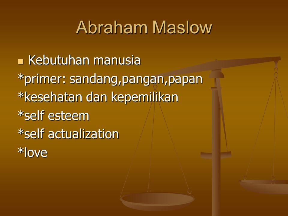 Abraham Maslow Kebutuhan manusia Kebutuhan manusia *primer: sandang,pangan,papan *kesehatan dan kepemilikan *self esteem *self actualization *love