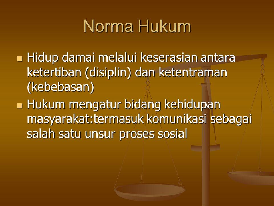 Norma Hukum Hidup damai melalui keserasian antara ketertiban (disiplin) dan ketentraman (kebebasan) Hidup damai melalui keserasian antara ketertiban (