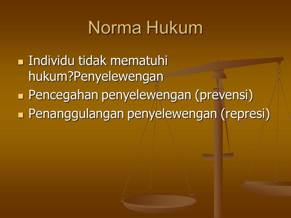 Norma Hukum Individu tidak mematuhi hukum?Penyelewengan Individu tidak mematuhi hukum?Penyelewengan Pencegahan penyelewengan (prevensi) Pencegahan pen