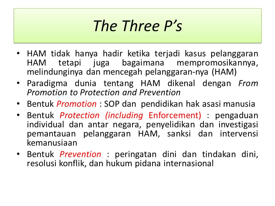 The Three P's HAM tidak hanya hadir ketika terjadi kasus pelanggaran HAM tetapi juga bagaimana mempromosikannya, melindunginya dan mencegah pelanggara