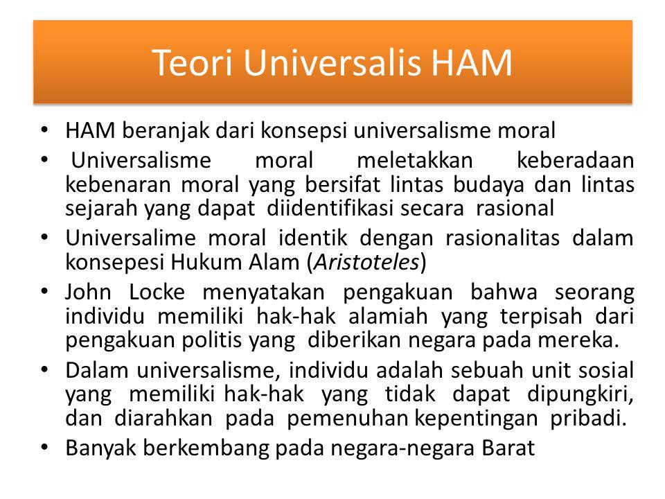 Teori Universalis HAM HAM beranjak dari konsepsi universalisme moral Universalisme moral meletakkan keberadaan kebenaran moral yang bersifat lintas bu
