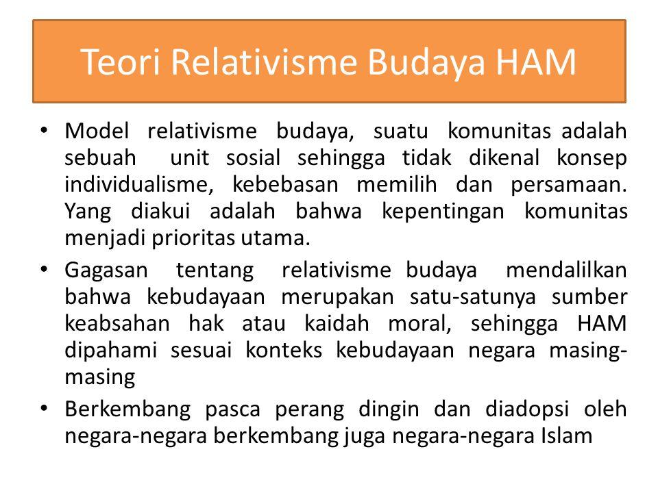 Teori Relativisme Budaya HAM Model relativisme budaya, suatu komunitas adalah sebuah unit sosial sehingga tidak dikenal konsep individualisme, kebebas