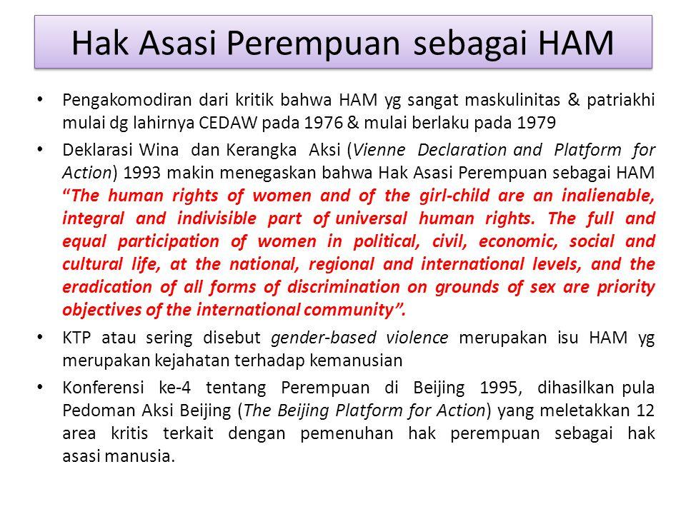 Hak Asasi Perempuan sebagai HAM Pengakomodiran dari kritik bahwa HAM yg sangat maskulinitas & patriakhi mulai dg lahirnya CEDAW pada 1976 & mulai berl