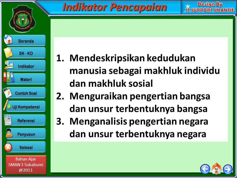 Bahan Ajar SMAN 3 Sukabumi @2011 Bahan Ajar SMAN 3 Sukabumi @2011 Indikator Pencapaian 1.Mendeskripsikan kedudukan manusia sebagai makhluk individu da