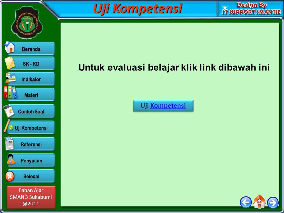 Bahan Ajar SMAN 3 Sukabumi @2011 Bahan Ajar SMAN 3 Sukabumi @2011 Uji Kompetensi Untuk evaluasi belajar klik link dibawah ini Uji KompetensiKompetensi