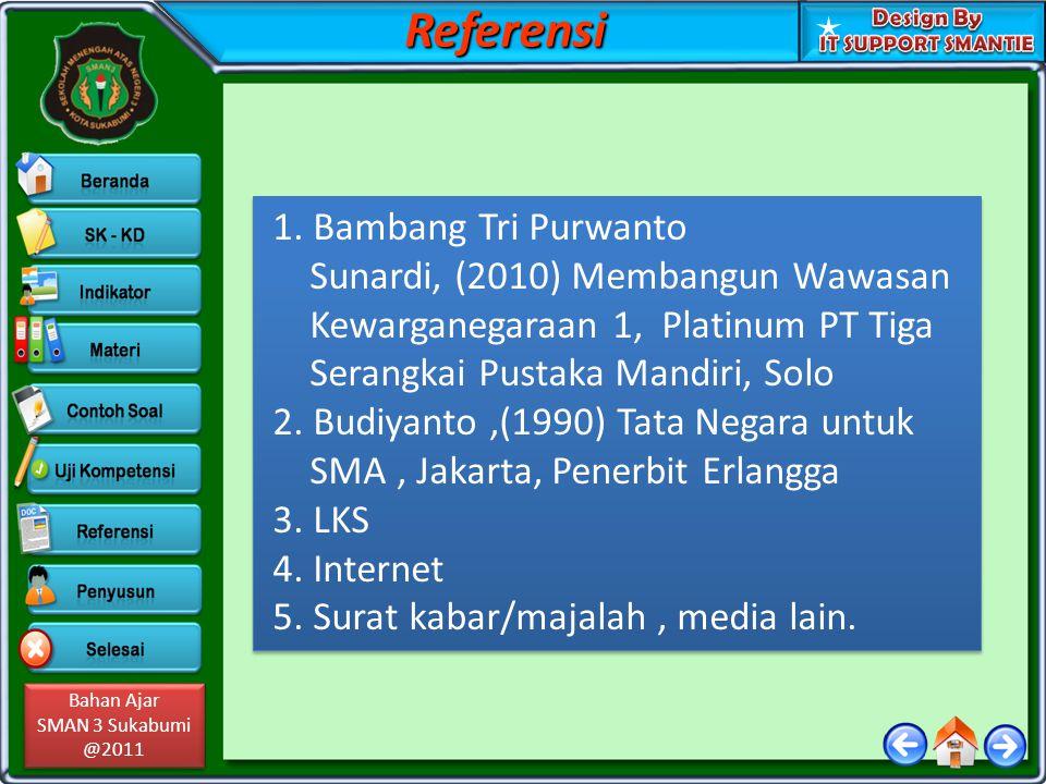 Bahan Ajar SMAN 3 Sukabumi @2011 Bahan Ajar SMAN 3 Sukabumi @2011 1. Bambang Tri Purwanto Sunardi, (2010) Membangun Wawasan Kewarganegaraan 1, Platinu