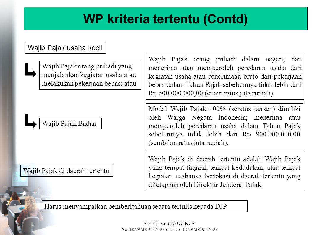 Modal Wajib Pajak 100% (seratus persen) dimiliki oleh Warga Negara Indonesia; menerima atau memperoleh peredaran usaha dalam Tahun Pajak sebelumnya tidak lebih dari Rp 900.000.000,00 (sembilan ratus juta rupiah).