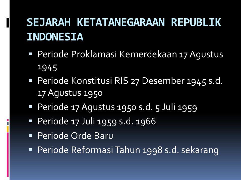SEJARAH KETATANEGARAAN REPUBLIK INDONESIA  Periode Proklamasi Kemerdekaan 17 Agustus 1945  Periode Konstitusi RIS 27 Desember 1945 s.d. 17 Agustus 1
