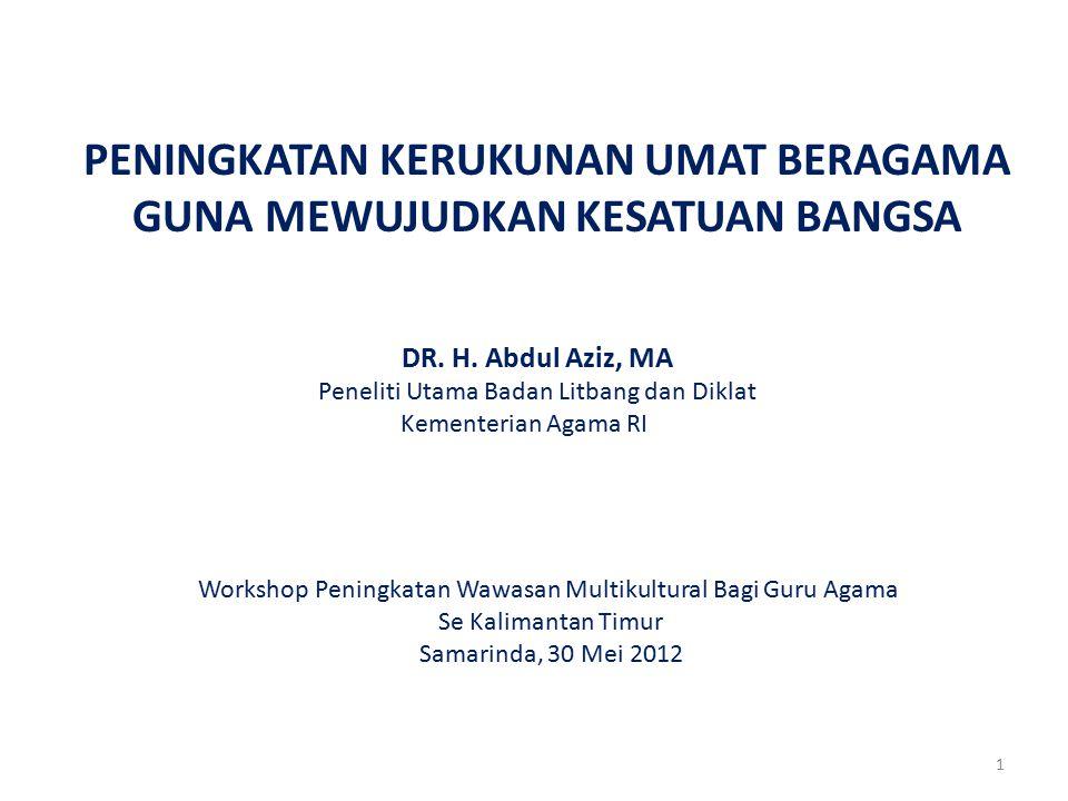 1 PENINGKATAN KERUKUNAN UMAT BERAGAMA GUNA MEWUJUDKAN KESATUAN BANGSA DR. H. Abdul Aziz, MA Peneliti Utama Badan Litbang dan Diklat Kementerian Agama