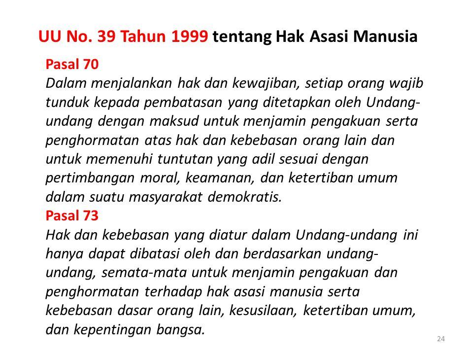 24 Pasal 70 Dalam menjalankan hak dan kewajiban, setiap orang wajib tunduk kepada pembatasan yang ditetapkan oleh Undang- undang dengan maksud untuk m