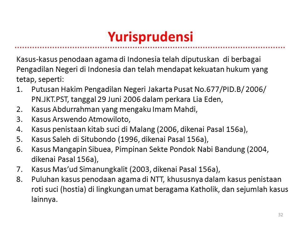 Yurisprudensi 32 Kasus-kasus penodaan agama di Indonesia telah diputuskan di berbagai Pengadilan Negeri di Indonesia dan telah mendapat kekuatan hukum