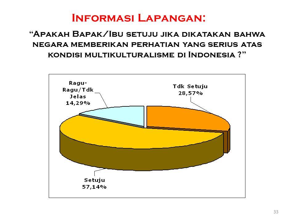"""""""Apakah Bapak/Ibu setuju jika dikatakan bahwa negara memberikan perhatian yang serius atas kondisi multikulturalisme di Indonesia ?"""" 33 Informasi Lapa"""