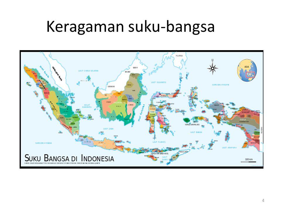 5 Keragaman Suku-Bangsa dan Bahasa Estimasi luas wilayah Indonesia: Pemerintah: 1.9 juta km2 dan wilayah laut 7.9 juta km2, termasuk zone ekonomi eksklusif.