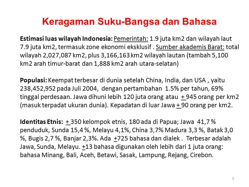5 Keragaman Suku-Bangsa dan Bahasa Estimasi luas wilayah Indonesia: Pemerintah: 1.9 juta km2 dan wilayah laut 7.9 juta km2, termasuk zone ekonomi eksk
