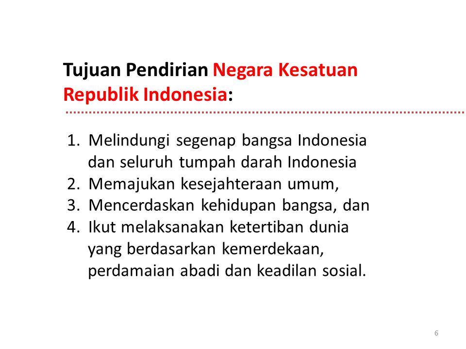 6 1. Melindungi segenap bangsa Indonesia dan seluruh tumpah darah Indonesia 2. Memajukan kesejahteraan umum, 3. Mencerdaskan kehidupan bangsa, dan 4.
