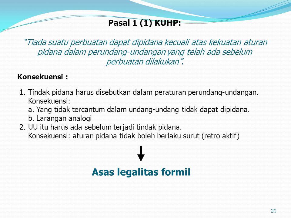 Pasal 1 (1) KUHP: Tiada suatu perbuatan dapat dipidana kecuali atas kekuatan aturan pidana dalam perundang-undangan yang telah ada sebelum perbuatan dilakukan .