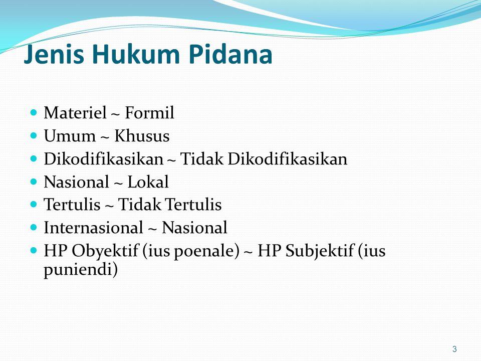 Jenis Hukum Pidana Materiel ~ Formil Umum ~ Khusus Dikodifikasikan ~ Tidak Dikodifikasikan Nasional ~ Lokal Tertulis ~ Tidak Tertulis Internasional ~ Nasional HP Obyektif (ius poenale) ~ HP Subjektif (ius puniendi) 3