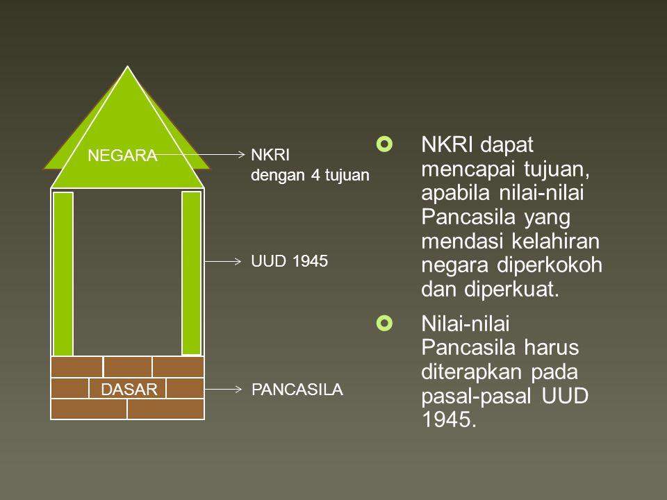 PANCASILA NEGARA NKRI dengan 4 tujuan DASAR  NKRI dapat mencapai tujuan, apabila nilai-nilai Pancasila yang mendasi kelahiran negara diperkokoh dan diperkuat.