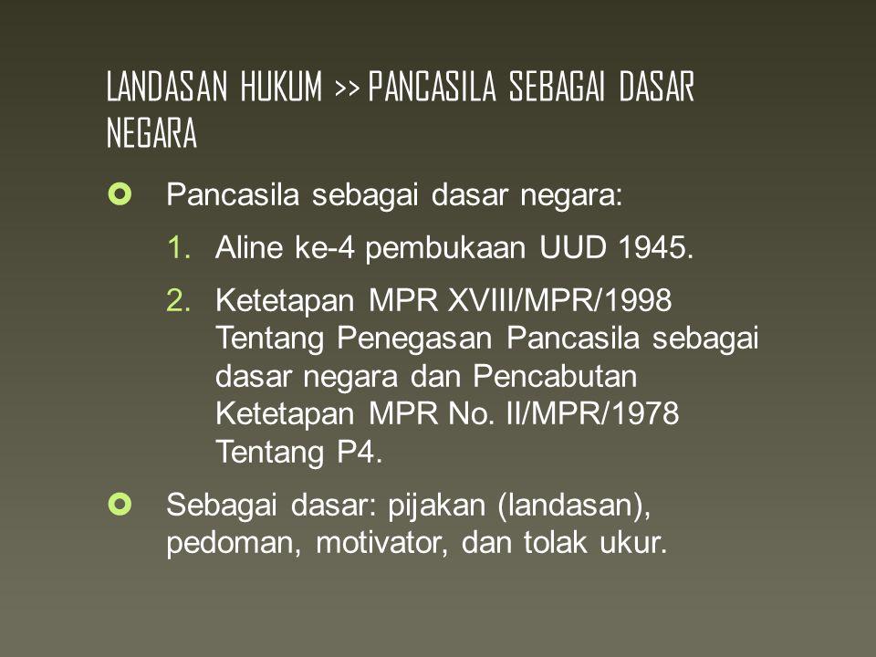 LANDASAN HUKUM >> PANCASILA SEBAGAI DASAR NEGARA  Pancasila sebagai dasar negara: 1.Aline ke-4 pembukaan UUD 1945.