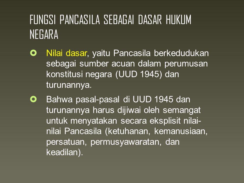 FUNGSI PANCASILA SEBAGAI DASAR HUKUM NEGARA  Nilai dasar, yaitu Pancasila berkedudukan sebagai sumber acuan dalam perumusan konstitusi negara (UUD 1945) dan turunannya.