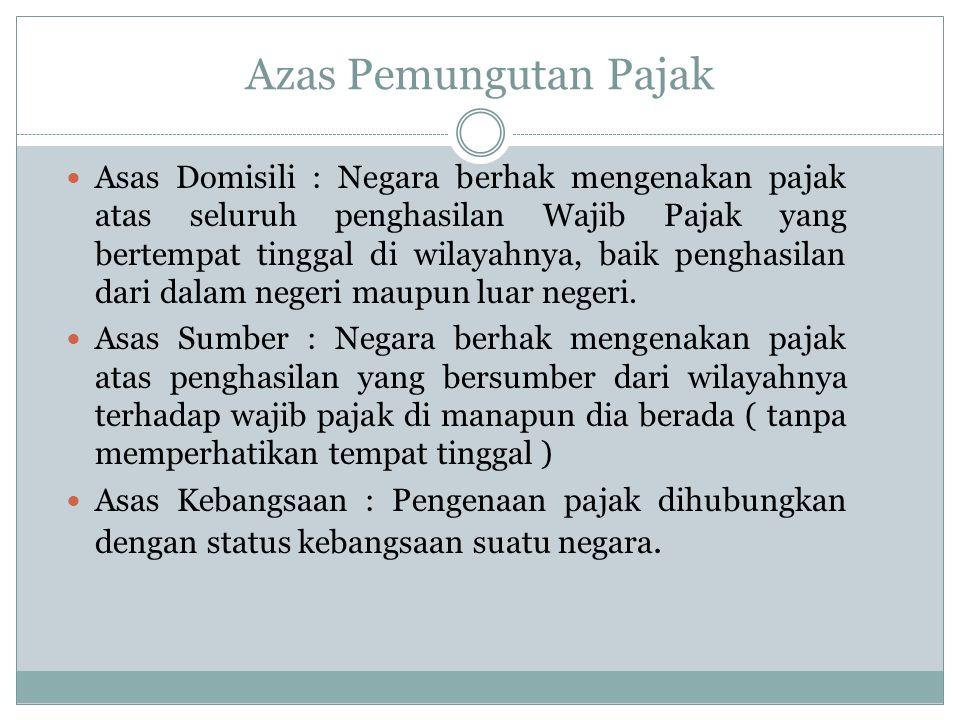 Azas Pemungutan Pajak Asas Domisili : Negara berhak mengenakan pajak atas seluruh penghasilan Wajib Pajak yang bertempat tinggal di wilayahnya, baik penghasilan dari dalam negeri maupun luar negeri.
