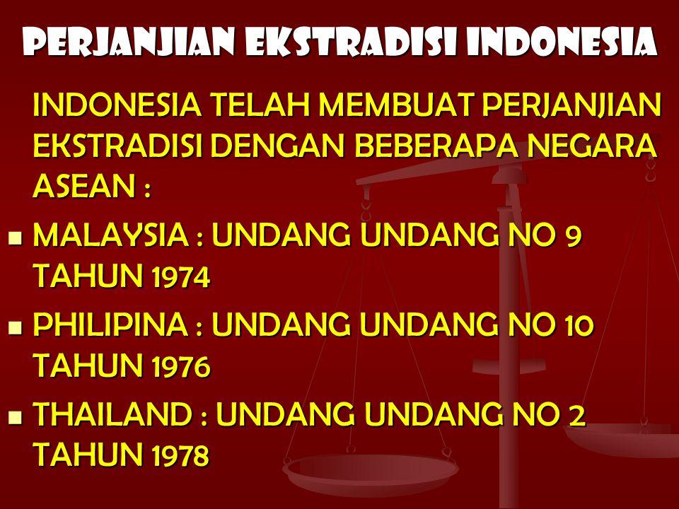 PERJANJIAN EKSTRADISI INDONESIA INDONESIA TELAH MEMBUAT PERJANJIAN EKSTRADISI DENGAN BEBERAPA NEGARA ASEAN : MALAYSIA : UNDANG UNDANG NO 9 TAHUN 1974 MALAYSIA : UNDANG UNDANG NO 9 TAHUN 1974 PHILIPINA : UNDANG UNDANG NO 10 TAHUN 1976 PHILIPINA : UNDANG UNDANG NO 10 TAHUN 1976 THAILAND : UNDANG UNDANG NO 2 TAHUN 1978 THAILAND : UNDANG UNDANG NO 2 TAHUN 1978