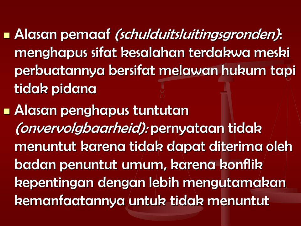 Alasan pemaaf (schulduitsluitingsgronden): menghapus sifat kesalahan terdakwa meski perbuatannya bersifat melawan hukum tapi tidak pidana Alasan pemaaf (schulduitsluitingsgronden): menghapus sifat kesalahan terdakwa meski perbuatannya bersifat melawan hukum tapi tidak pidana Alasan penghapus tuntutan (onvervolgbaarheid): pernyataan tidak menuntut karena tidak dapat diterima oleh badan penuntut umum, karena konflik kepentingan dengan lebih mengutamakan kemanfaatannya untuk tidak menuntut Alasan penghapus tuntutan (onvervolgbaarheid): pernyataan tidak menuntut karena tidak dapat diterima oleh badan penuntut umum, karena konflik kepentingan dengan lebih mengutamakan kemanfaatannya untuk tidak menuntut