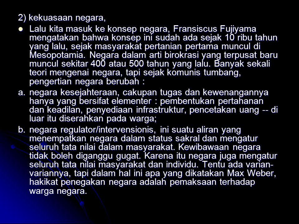 2) kekuasaan negara, Lalu kita masuk ke konsep negara, Fransiscus Fujiyama mengatakan bahwa konsep ini sudah ada sejak 10 ribu tahun yang lalu, sejak