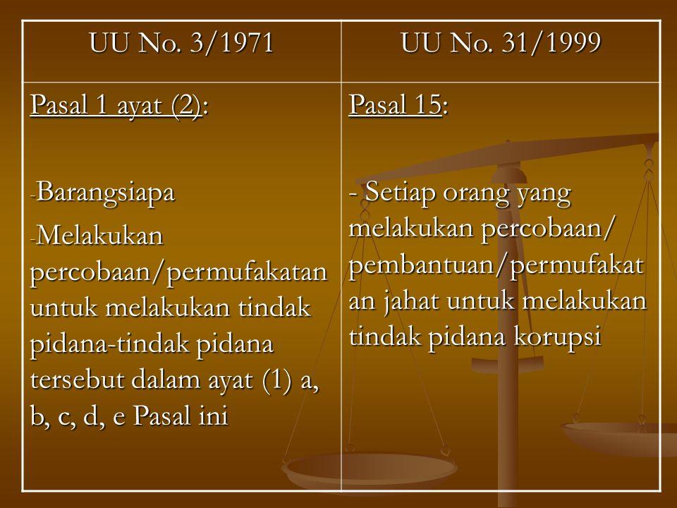 UU No. 3/1971 UU No. 31/1999 Pasal 1 ayat (2): - Barangsiapa - Melakukan percobaan/permufakatan untuk melakukan tindak pidana-tindak pidana tersebut d