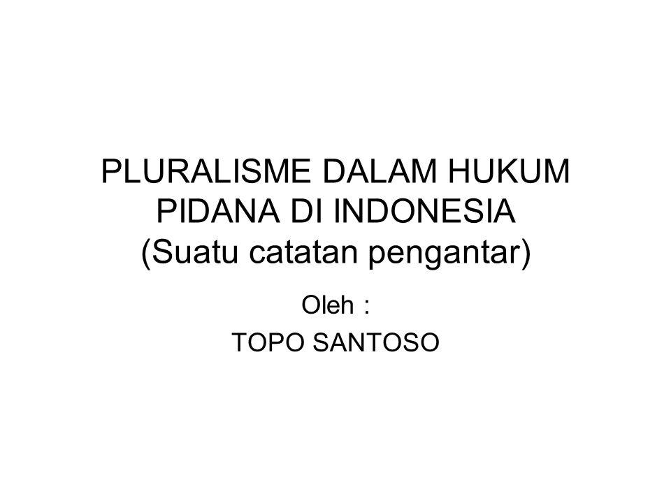 PLURALISME DALAM HUKUM PIDANA DI INDONESIA (Suatu catatan pengantar) Oleh : TOPO SANTOSO