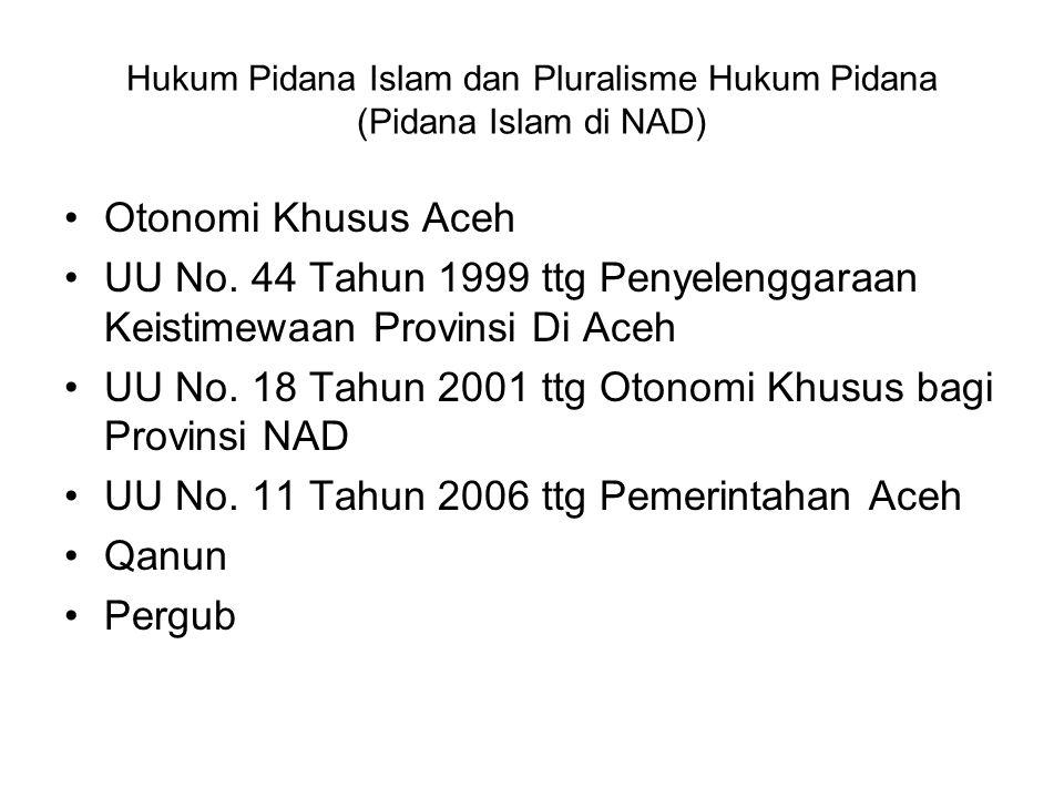 Hukum Pidana Islam dan Pluralisme Hukum Pidana (Pidana Islam di NAD) Otonomi Khusus Aceh UU No. 44 Tahun 1999 ttg Penyelenggaraan Keistimewaan Provins
