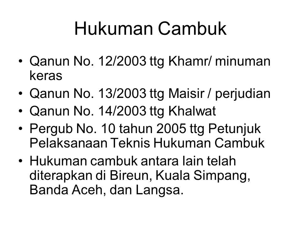 Hukuman Cambuk Qanun No. 12/2003 ttg Khamr/ minuman keras Qanun No. 13/2003 ttg Maisir / perjudian Qanun No. 14/2003 ttg Khalwat Pergub No. 10 tahun 2