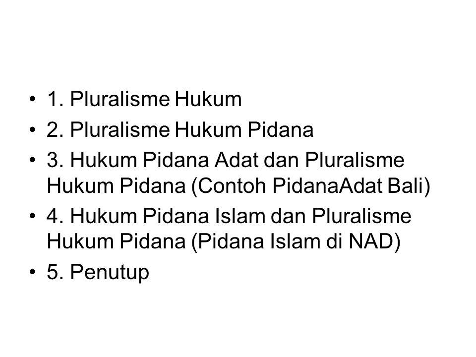 1. Pluralisme Hukum 2. Pluralisme Hukum Pidana 3. Hukum Pidana Adat dan Pluralisme Hukum Pidana (Contoh PidanaAdat Bali) 4. Hukum Pidana Islam dan Plu