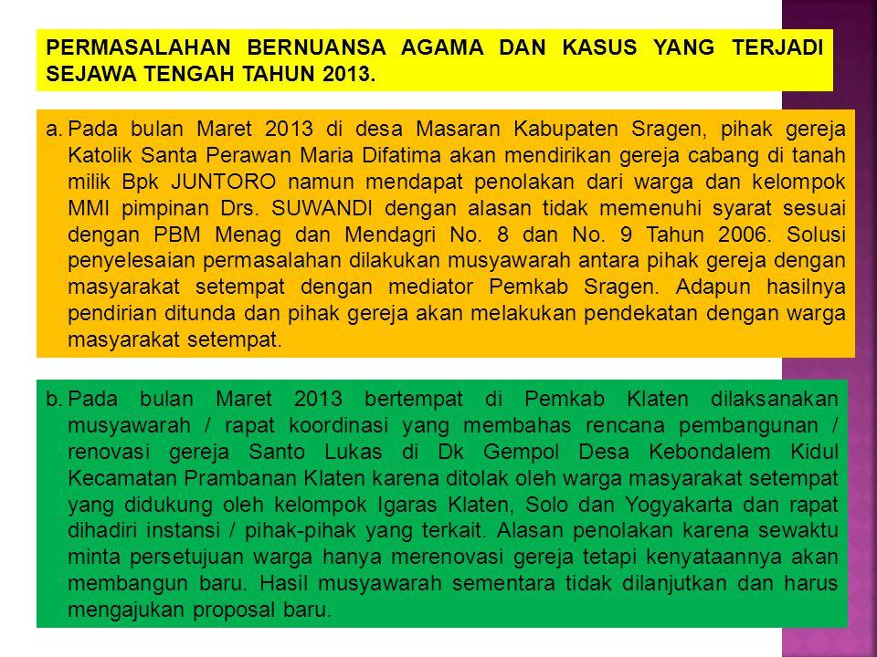 PERMASALAHAN BERNUANSA AGAMA DAN KASUS YANG TERJADI SEJAWA TENGAH TAHUN 2013. a.Pada bulan Maret 2013 di desa Masaran Kabupaten Sragen, pihak gereja K