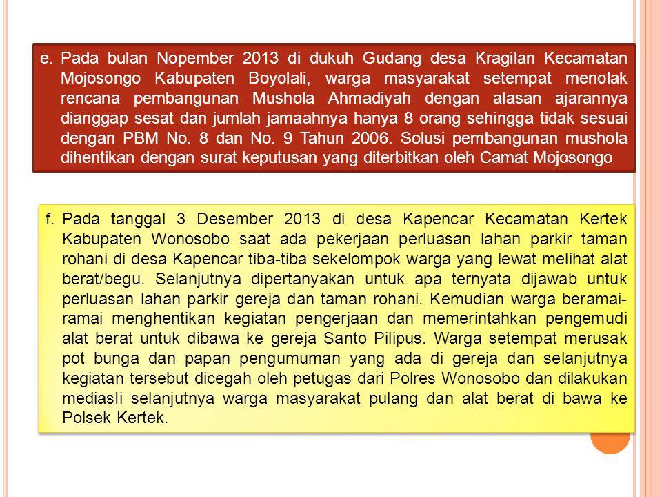 e.Pada bulan Nopember 2013 di dukuh Gudang desa Kragilan Kecamatan Mojosongo Kabupaten Boyolali, warga masyarakat setempat menolak rencana pembangunan