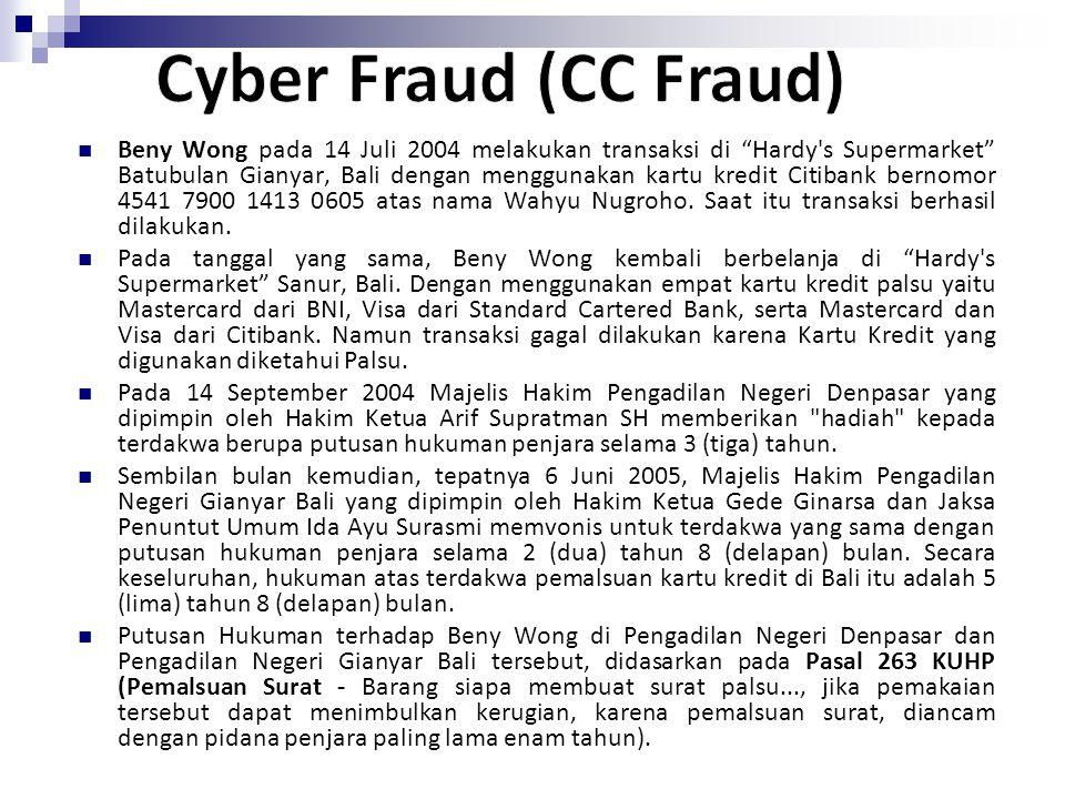 """Beny Wong pada 14 Juli 2004 melakukan transaksi di """"Hardy's Supermarket"""" Batubulan Gianyar, Bali dengan menggunakan kartu kredit Citibank bernomor 454"""