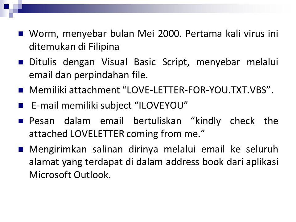Worm, menyebar bulan Mei 2000. Pertama kali virus ini ditemukan di Filipina Ditulis dengan Visual Basic Script, menyebar melalui email dan perpindahan