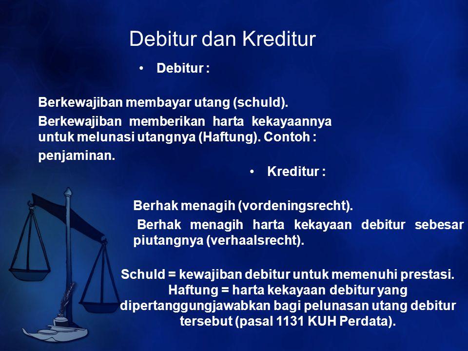 Debitur dan Kreditur Debitur : Berkewajiban membayar utang (schuld). Berkewajiban memberikan harta kekayaannya untuk melunasi utangnya (Haftung). Cont