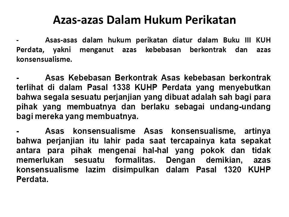 Azas-azas Dalam Hukum Perikatan - Asas-asas dalam hukum perikatan diatur dalam Buku III KUH Perdata, yakni menganut azas kebebasan berkontrak dan azas
