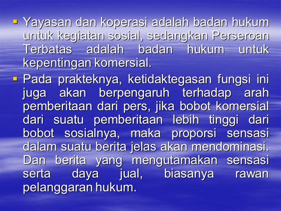  Yayasan dan koperasi adalah badan hukum untuk kegiatan sosial, sedangkan Perseroan Terbatas adalah badan hukum untuk kepentingan komersial.  Pada p