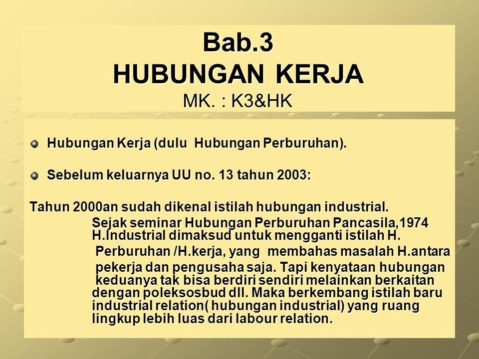 Hubungan Kerja (dulu Hubungan Perburuhan). Sebelum keluarnya UU no. 13 tahun 2003: Tahun 2000an sudah dikenal istilah hubungan industrial. Sejak semin