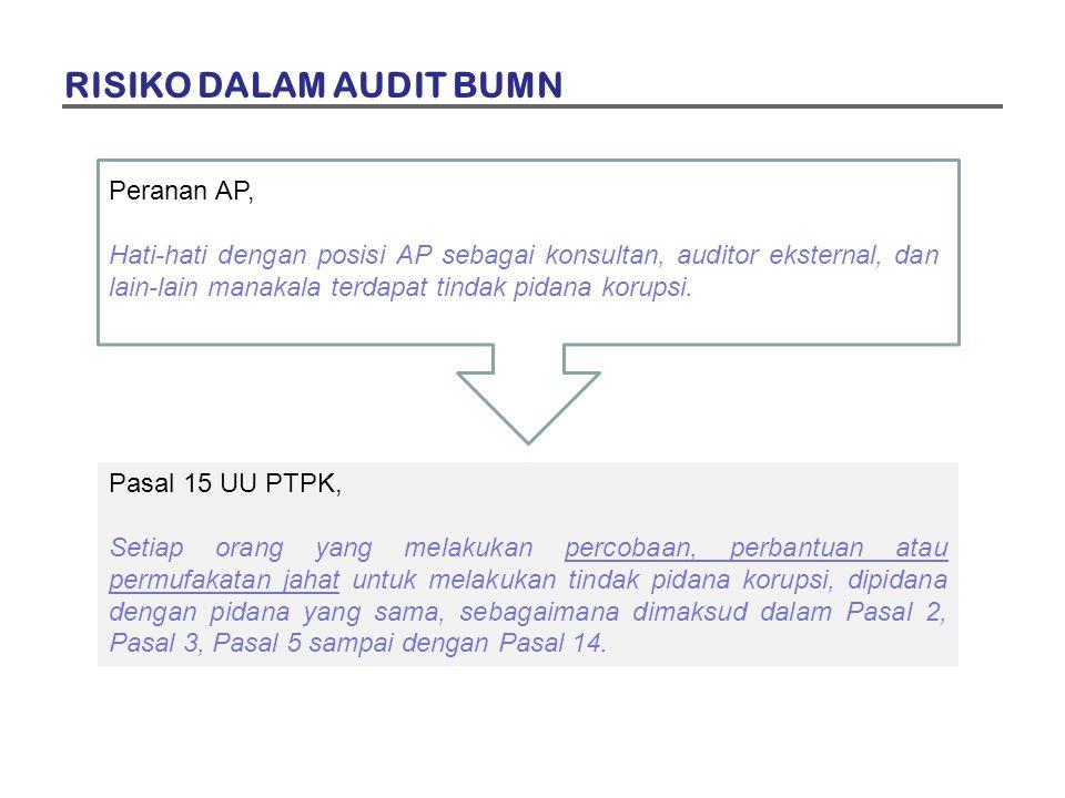 Peranan AP, Hati-hati dengan posisi AP sebagai konsultan, auditor eksternal, dan lain-lain manakala terdapat tindak pidana korupsi. Pasal 15 UU PTPK,