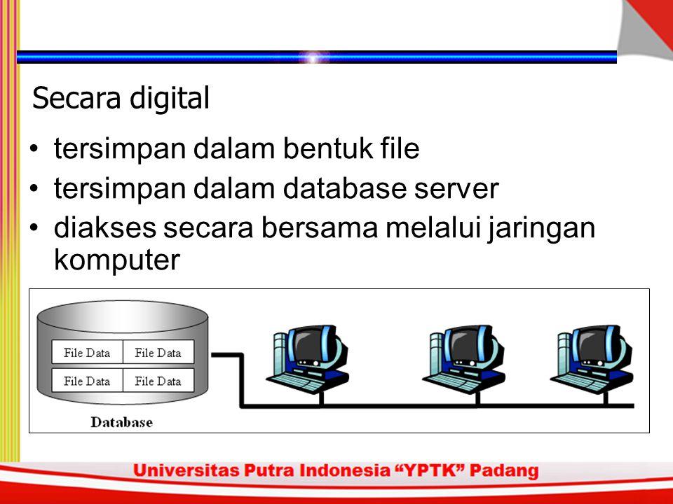 Kumpulan data Tersimpan dalam suatu tempat Dapat digunakan secara bersama Database