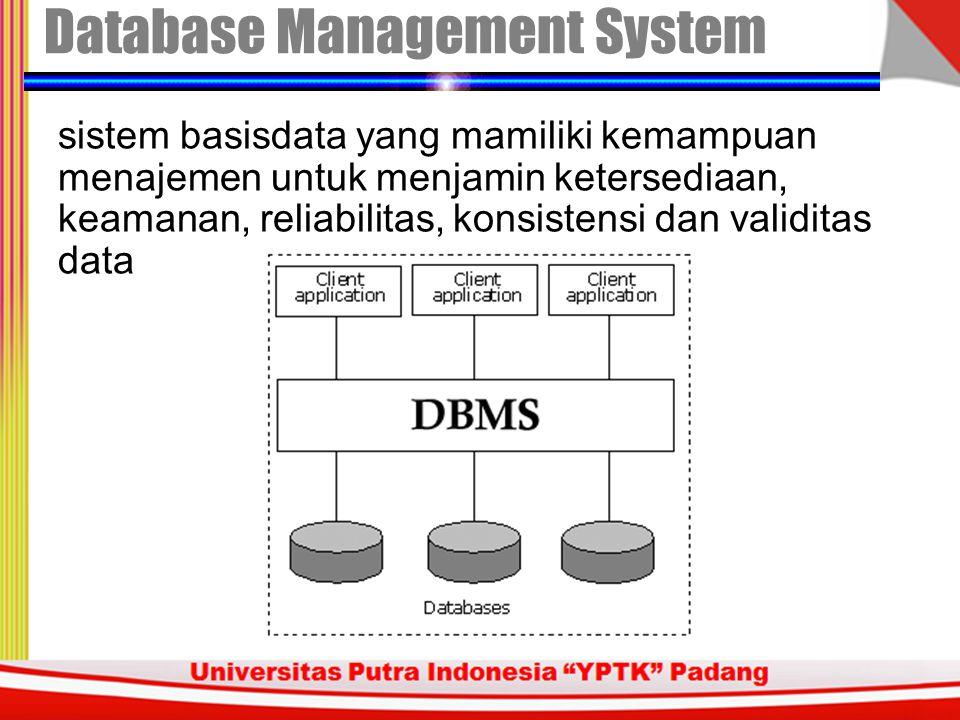 Dalam sistem informasi, penerapan database tidak hanya ditinjau dari sisi ketersediaan data tetapi juga dari sisi keamanan data keamanan data konsistensi data konsistensi data validitas data validitas data reliablilitas system reliablilitas system Perlu menejemen data