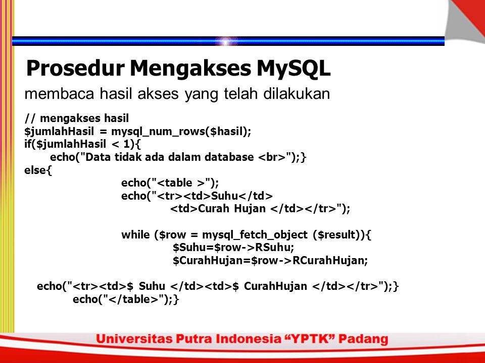 memilih dan membuka database yang diinginkan Prosedur Mengakses MySQL // membuka database $db = SumberDayaAir ; mysql_select_db($db); mengirim perintah untuk mengakses (membaca, menulis, mengubah, atau menghapus) data // membuat query $query = SELECT RSuhu, RCurahHujan FROM Cuaca ; $ result = mysql_query($query);